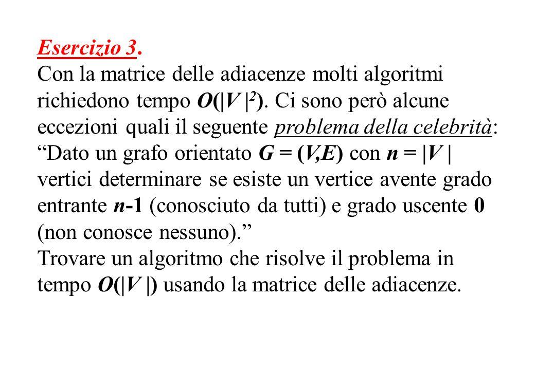Esercizio 3. Con la matrice delle adiacenze molti algoritmi richiedono tempo O( V   2 ). Ci sono però alcune eccezioni quali il seguente problema dell