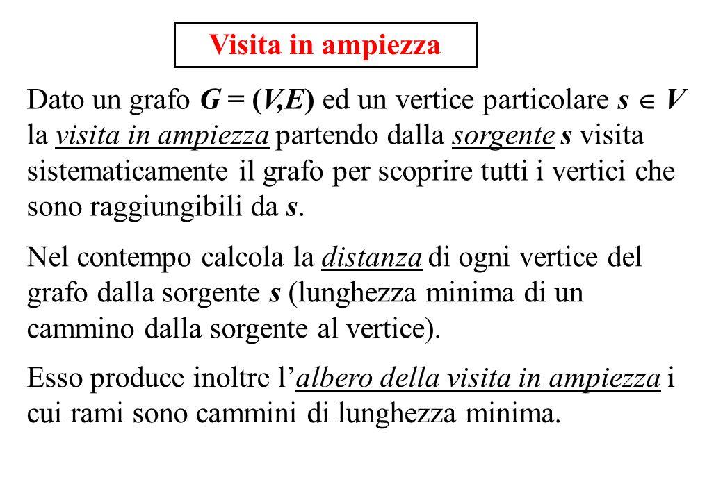 Visita in ampiezza Dato un grafo G = (V,E) ed un vertice particolare s V la visita in ampiezza partendo dalla sorgente s visita sistematicamente il gr