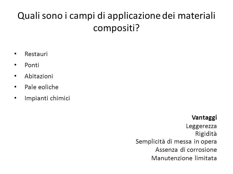 Quali sono i campi di applicazione dei materiali compositi? Restauri Ponti Abitazioni Pale eoliche Impianti chimici Vantaggi Leggerezza Rigidità Sempl