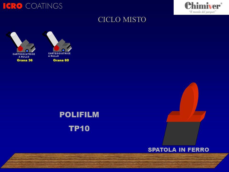 ICRO COATINGS POLIFILM TP10 CARTEGGIATRICE A RULLO Grana 60 SPATOLA IN FERRO CICLO MISTO CARTEGGIATRICE A RULLO Grana 36