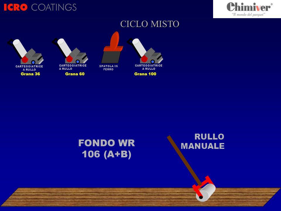 FONDO WR 106 (A+B) RULLO MANUALE ICRO COATINGS CICLO ? CARTEGGIATRICE A RULLO Grana 100 CICLO MISTO SPATOLA IN FERRO CARTEGGIATRICE A RULLO Grana 60 C