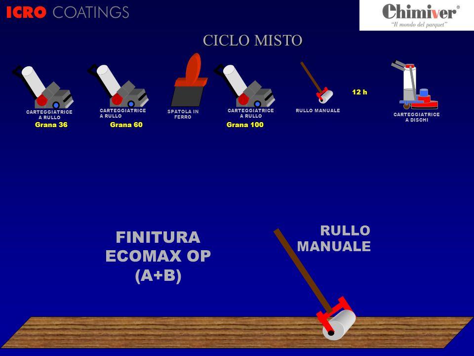 12 h CARTEGGIATRICE A DISCHI RULLO MANUALE ICRO COATINGS CICLO ? CICLO MISTO FINITURA ECOMAX OP (A+B) RULLO MANUALE CARTEGGIATRICE A RULLO Grana 100 S