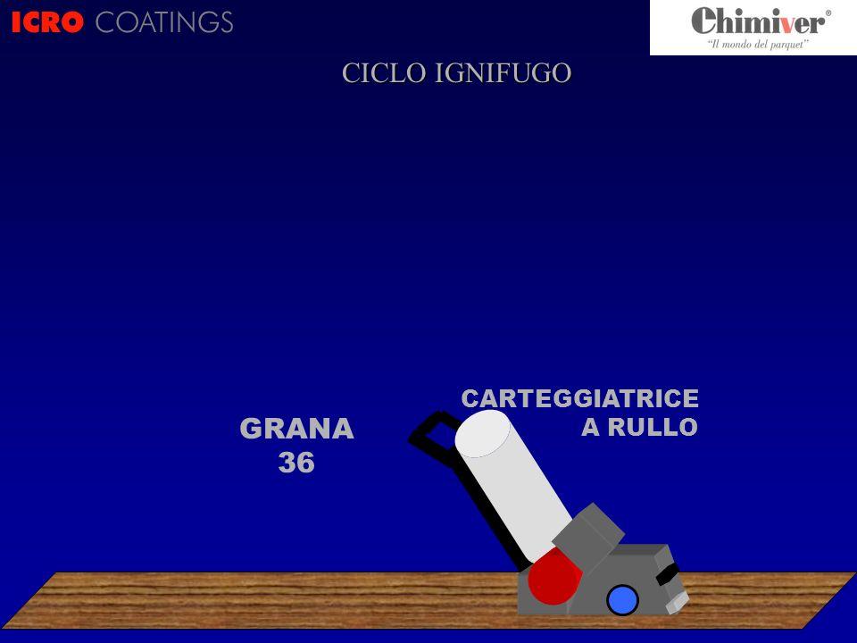 ICRO COATINGS CARTEGGIATRICE A RULLO GRANA 36 CICLO IGNIFUGO