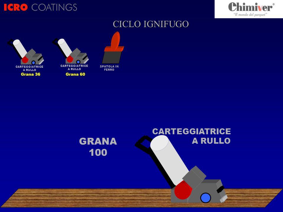ICRO COATINGS GRANA 100 SPATOLA IN FERRO CARTEGGIATRICE A RULLO CICLO IGNIFUGO CARTEGGIATRICE A RULLO Grana 60 CARTEGGIATRICE A RULLO Grana 36