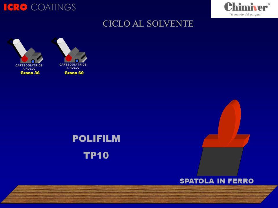 ICRO COATINGS CICLO AL SOLVENTE POLIFILM TP10 CARTEGGIATRICE A RULLO Grana 36 CARTEGGIATRICE A RULLO Grana 60 SPATOLA IN FERRO