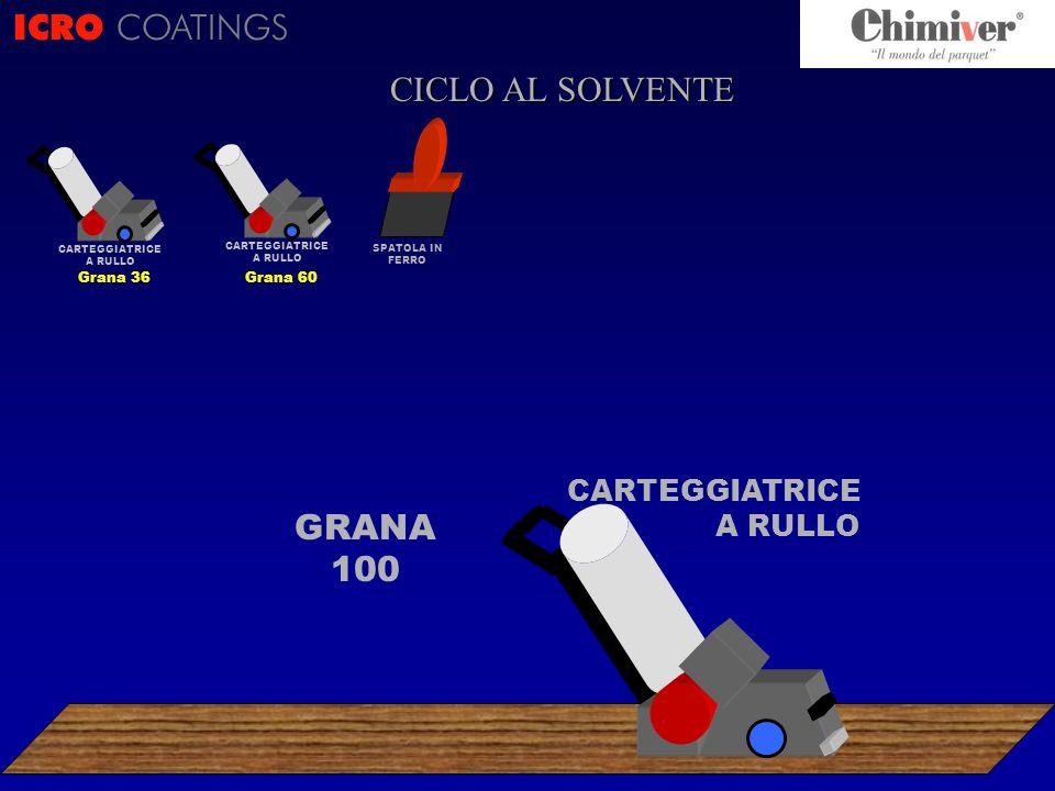 ICRO COATINGS CICLO AL SOLVENTE GRANA 100 CARTEGGIATRICE A RULLO Grana 36 CARTEGGIATRICE A RULLO Grana 60 SPATOLA IN FERRO CARTEGGIATRICE A RULLO