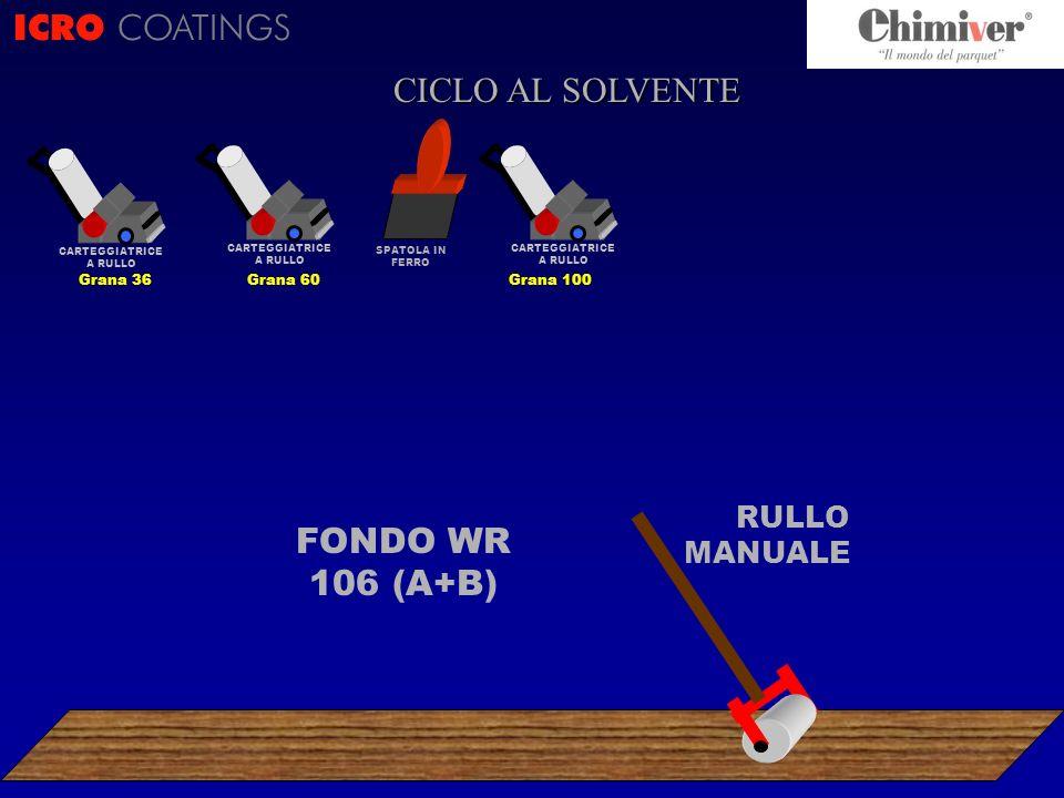 FONDO WR 106 (A+B) RULLO MANUALE ICRO COATINGS CICLO ? CICLO AL SOLVENTE CARTEGGIATRICE A RULLO Grana 100 CARTEGGIATRICE A RULLO Grana 36 CARTEGGIATRI