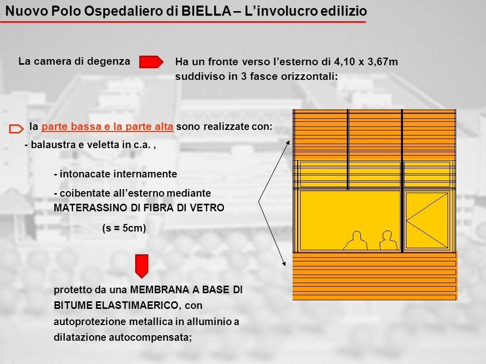 La camera di degenza Ha un fronte verso lesterno di 4,10 x 3,67m suddiviso in 3 fasce orizzontali: la parte bassa e la parte alta sono realizzate con: - balaustra e veletta in c.a., - intonacate internamente - coibentate allesterno mediante MATERASSINO DI FIBRA DI VETRO (s = 5cm) protetto da una MEMBRANA A BASE DI BITUME ELASTIMAERICO, con autoprotezione metallica in alluminio a dilatazione autocompensata; Nuovo Polo Ospedaliero di BIELLA – Linvolucro edilizio
