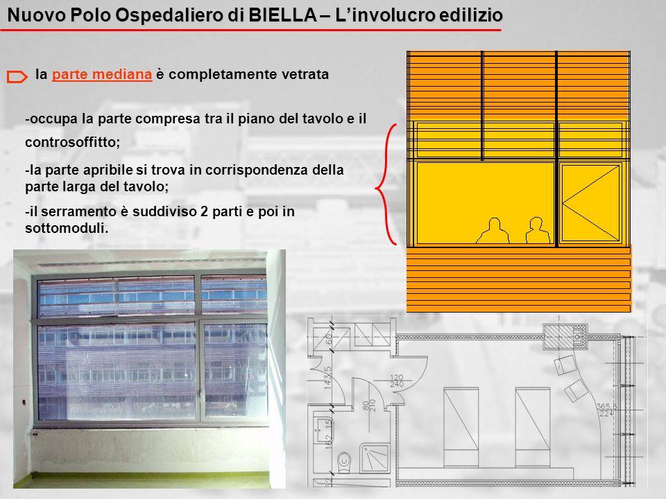 La PELLE più esterna: - è SOSTENUTA da una TRALICCIATURA METALLICA a scansione verticale - è formata da LISTELLI ORIZZONTALI di legno, non a contatto, che lasciano filtrare la luce verso lo strato murario.