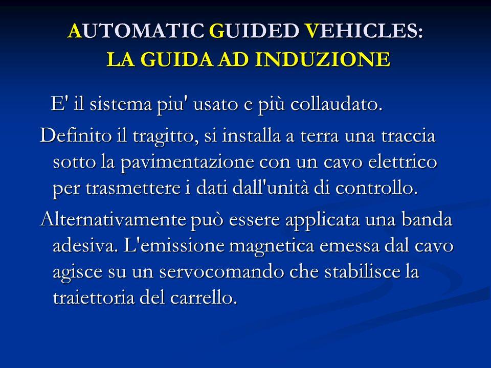 AUTOMATIC GUIDED VEHICLES: LA GUIDA AD INDUZIONE E' il sistema piu' usato e più collaudato. E' il sistema piu' usato e più collaudato. Definito il tra