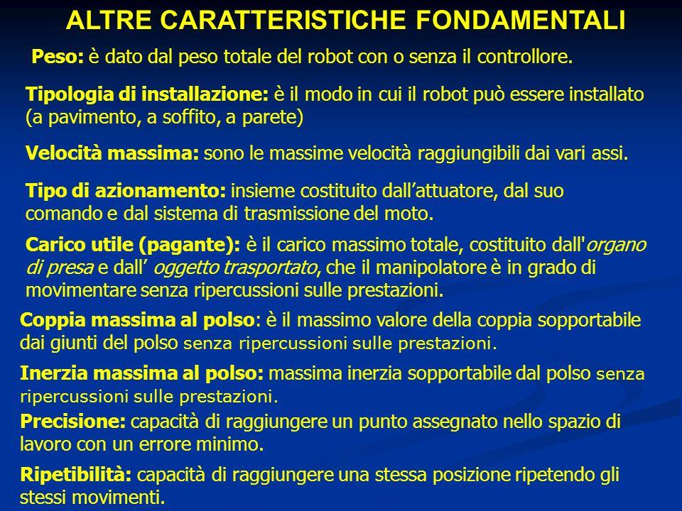ALTRE CARATTERISTICHE FONDAMENTALI Carico utile (pagante): è il carico massimo totale, costituito dall'organo di presa e dall oggetto trasportato, che
