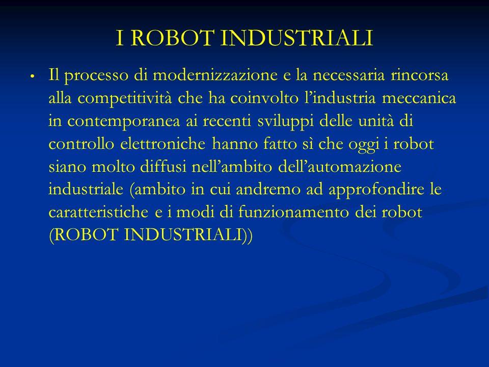 I ROBOT INDUSTRIALI Il processo di modernizzazione e la necessaria rincorsa alla competitività che ha coinvolto lindustria meccanica in contemporanea ai recenti sviluppi delle unità di controllo elettroniche hanno fatto sì che oggi i robot siano molto diffusi nellambito dellautomazione industriale (ambito in cui andremo ad approfondire le caratteristiche e i modi di funzionamento dei robot (ROBOT INDUSTRIALI))