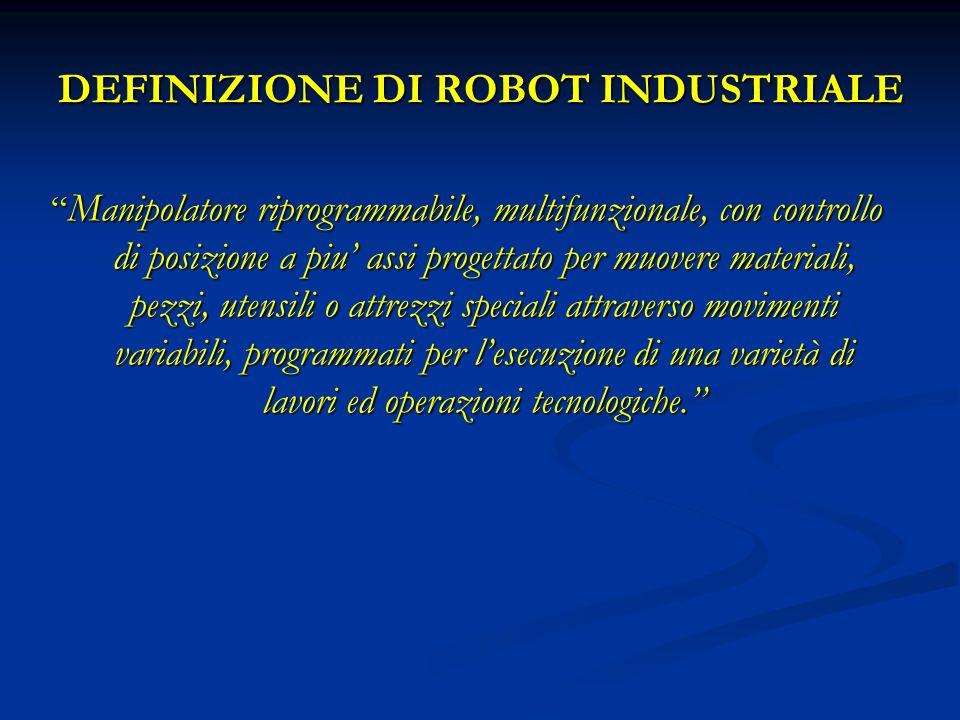 DEFINIZIONE DI ROBOT INDUSTRIALE Manipolatore riprogrammabile, multifunzionale, con controllo di posizione a piu assi progettato per muovere materiali