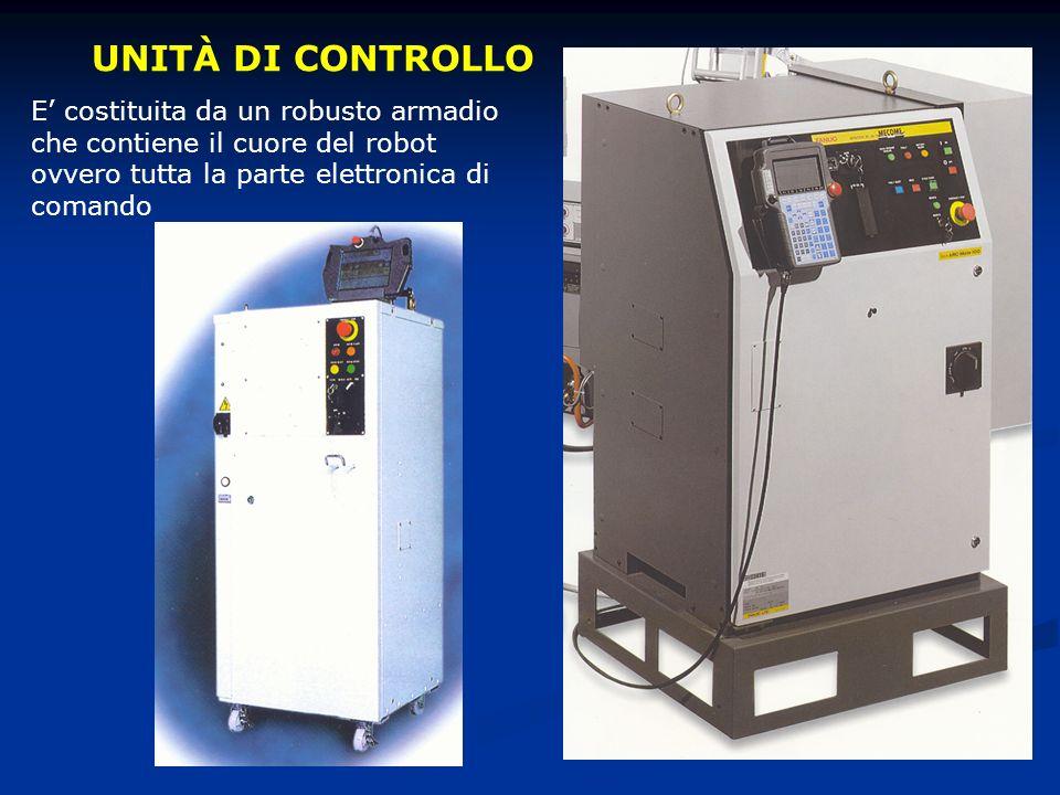 UNITÀ DI CONTROLLO E costituita da un robusto armadio che contiene il cuore del robot ovvero tutta la parte elettronica di comando