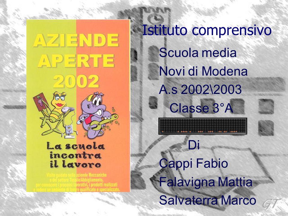 Scuola media Novi di Modena A.s 2002\2003 Classe 3°A Di Cappi Fabio Falavigna Mattia Salvaterra Marco Istituto comprensivo