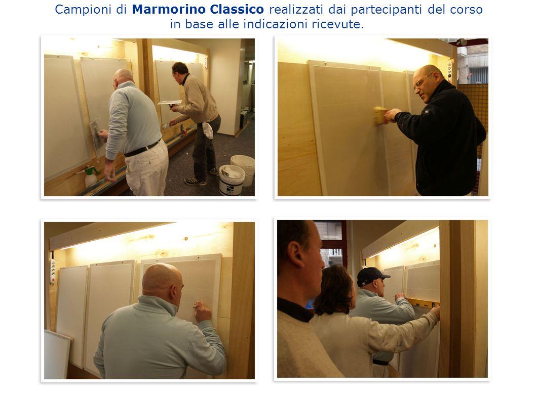 Campioni di Marmorino Classico realizzati dai partecipanti del corso in base alle indicazioni ricevute.
