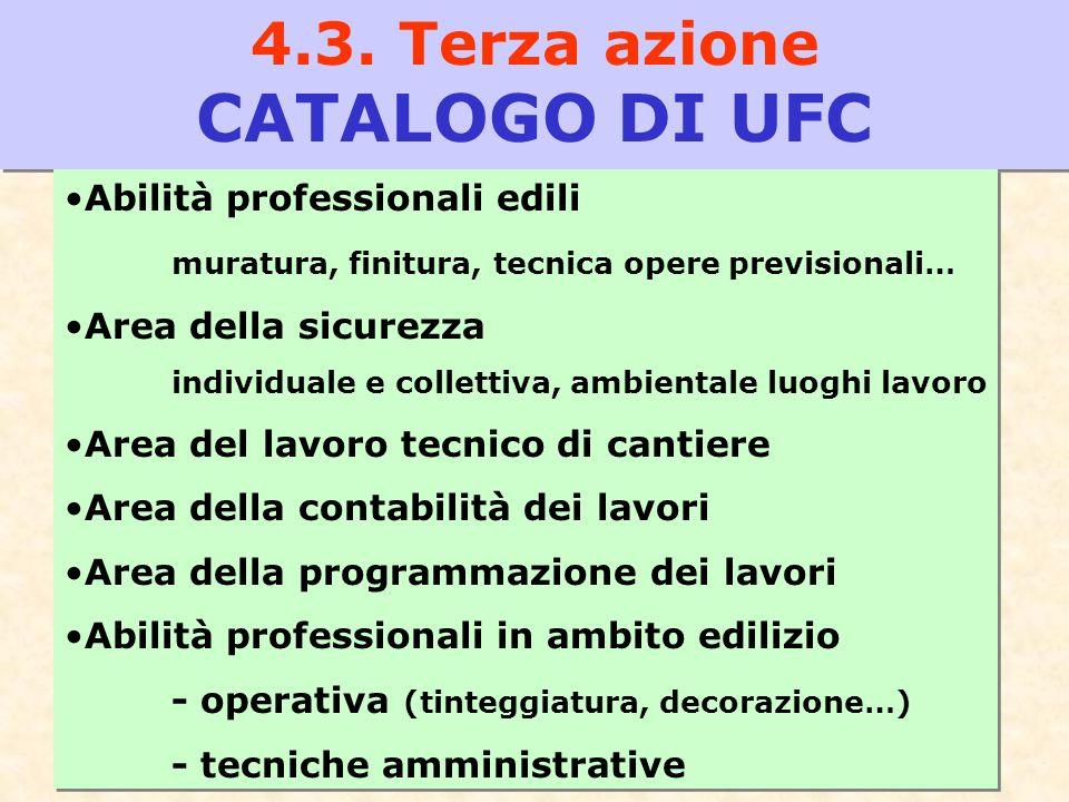 15 4.3. Terza azione CATALOGO DI UFC Abilità professionali edili muratura, finitura, tecnica opere previsionali… Area della sicurezza individuale e co