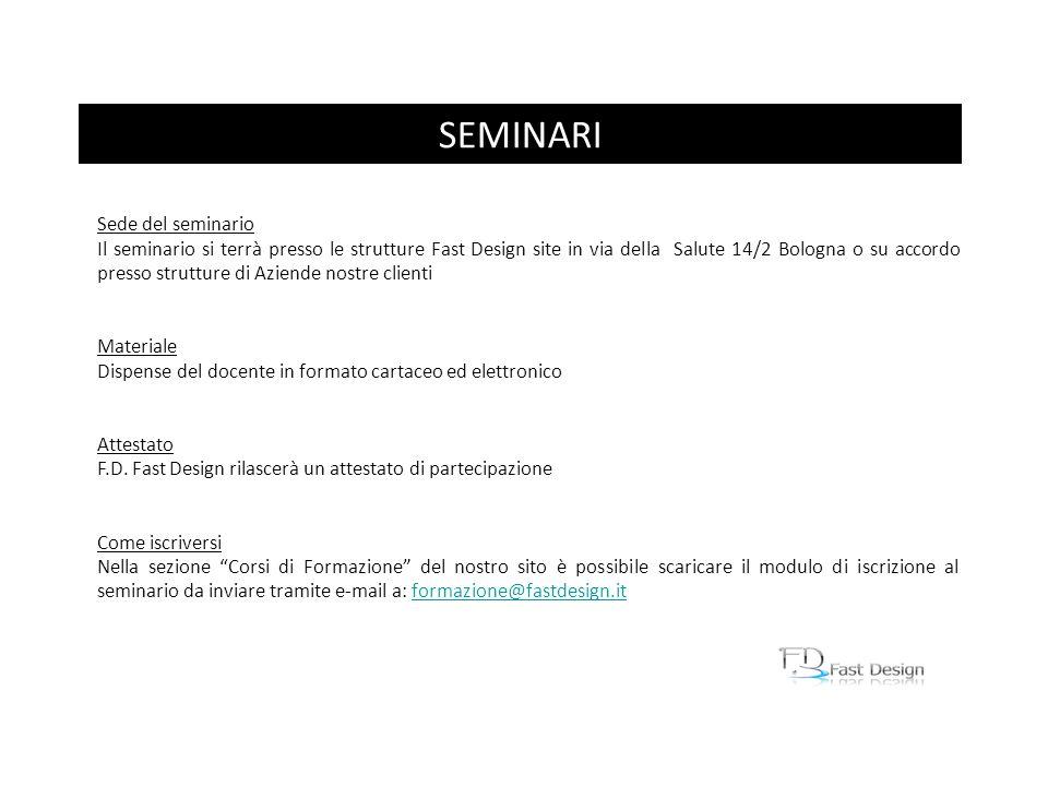 Sede del seminario Il seminario si terrà presso le strutture Fast Design site in via della Salute 14/2 Bologna o su accordo presso strutture di Aziend