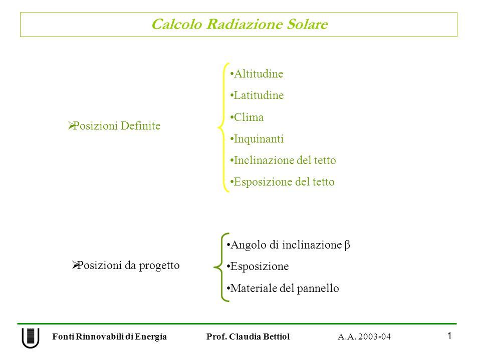 Calcolo Radiazione Solare 1 Fonti Rinnovabili di Energia Prof. Claudia Bettiol A.A. 2003-04 Posizioni Definite Altitudine Latitudine Clima Inquinanti