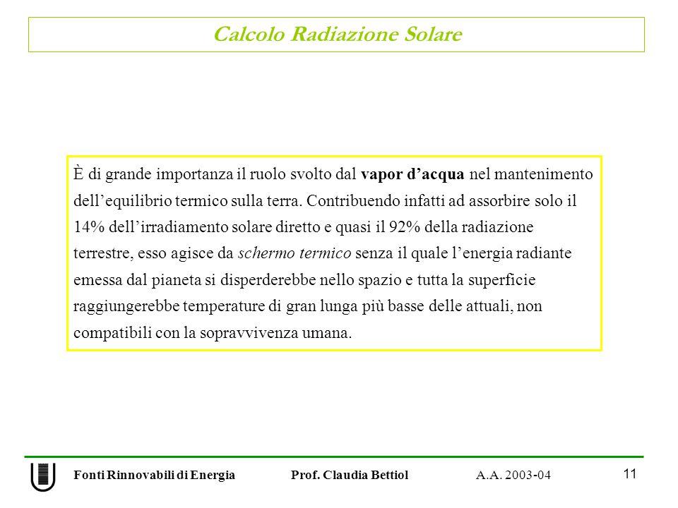Calcolo Radiazione Solare 11 Fonti Rinnovabili di Energia Prof. Claudia Bettiol A.A. 2003-04 È di grande importanza il ruolo svolto dal vapor dacqua n