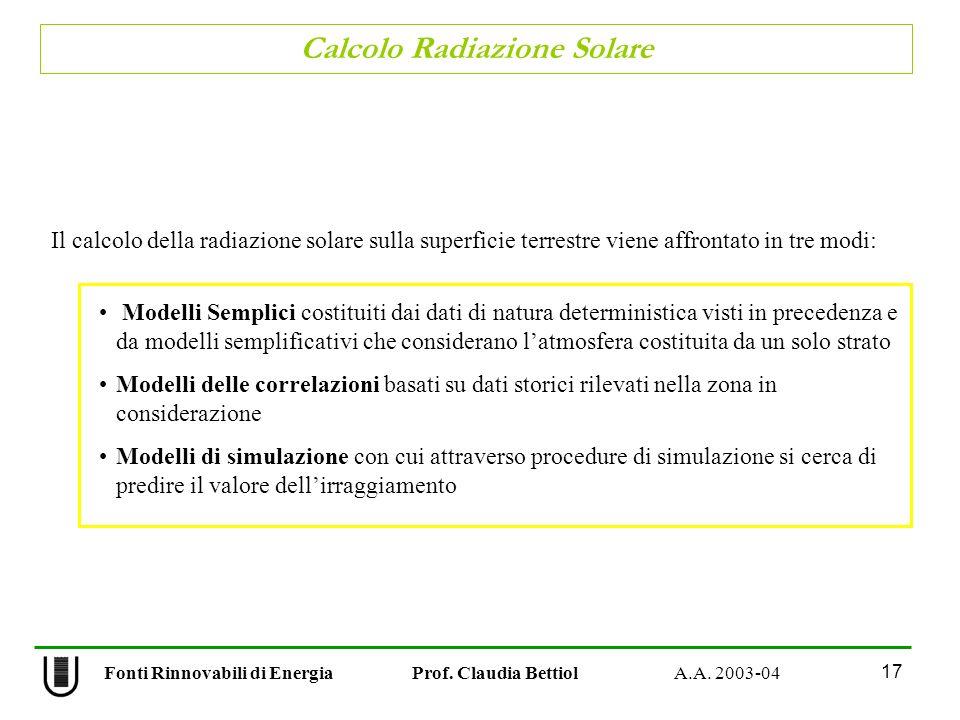 Calcolo Radiazione Solare 17 Fonti Rinnovabili di Energia Prof. Claudia Bettiol A.A. 2003-04 Il calcolo della radiazione solare sulla superficie terre