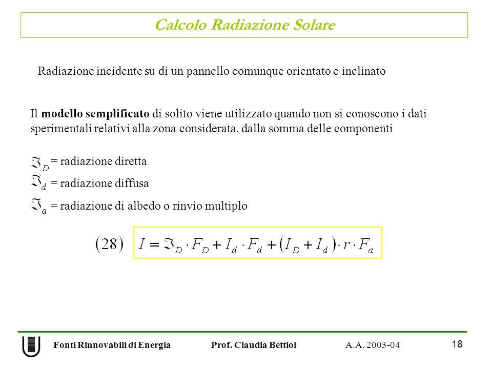 Calcolo Radiazione Solare 18 Fonti Rinnovabili di Energia Prof. Claudia Bettiol A.A. 2003-04 Il modello semplificato di solito viene utilizzato quando