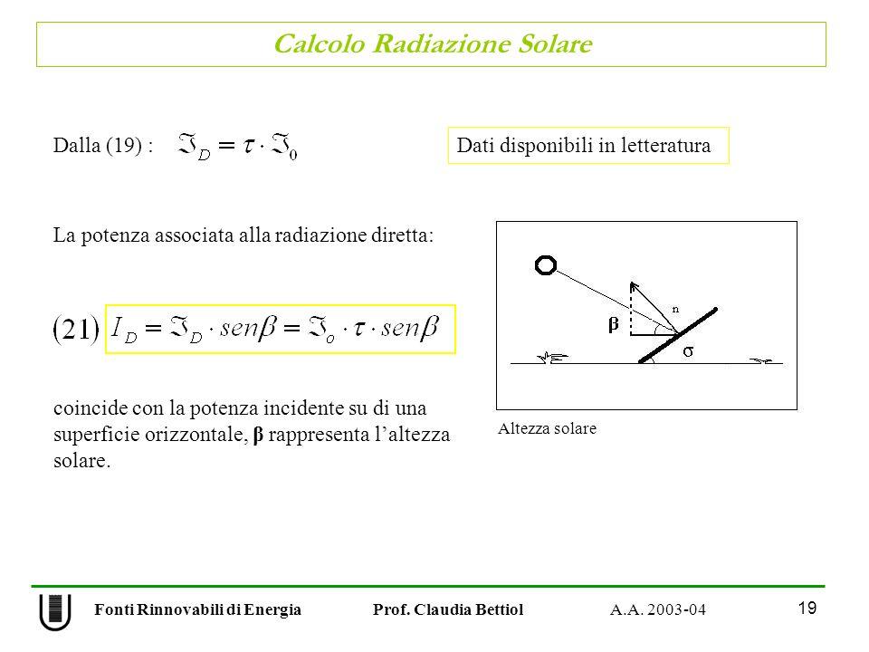 Calcolo Radiazione Solare 19 Fonti Rinnovabili di Energia Prof. Claudia Bettiol A.A. 2003-04 Dalla (19) : La potenza associata alla radiazione diretta