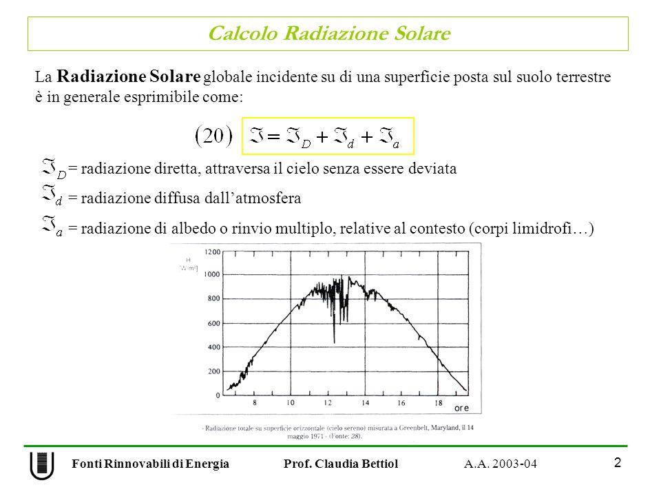 Calcolo Radiazione Solare 2 Fonti Rinnovabili di Energia Prof. Claudia Bettiol A.A. 2003-04 La Radiazione Solare globale incidente su di una superfici