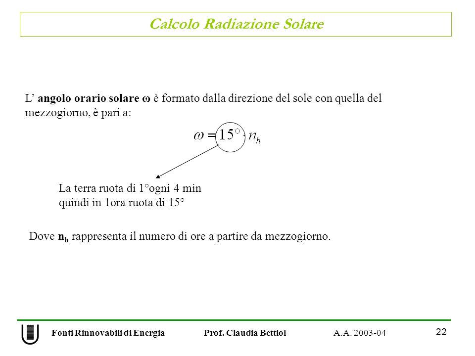 Calcolo Radiazione Solare 22 Fonti Rinnovabili di Energia Prof. Claudia Bettiol A.A. 2003-04 L angolo orario solare ω è formato dalla direzione del so