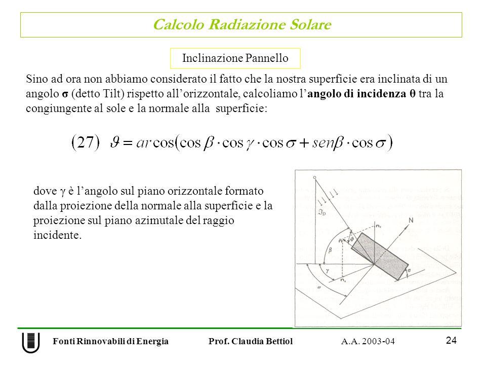Calcolo Radiazione Solare 24 Fonti Rinnovabili di Energia Prof. Claudia Bettiol A.A. 2003-04 Sino ad ora non abbiamo considerato il fatto che la nostr
