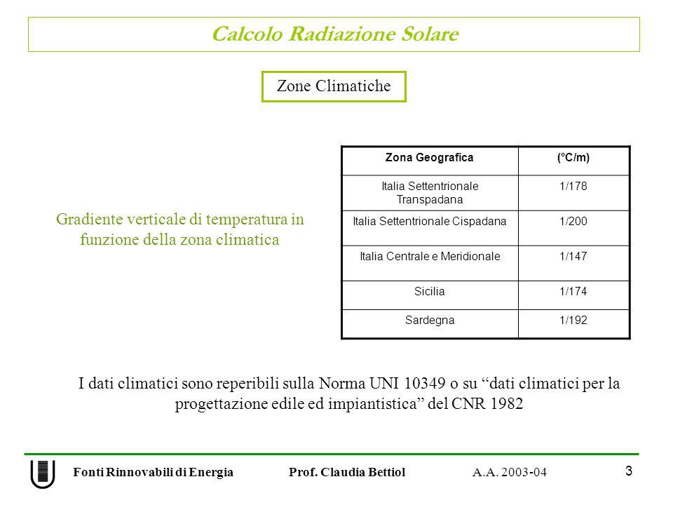 Calcolo Radiazione Solare 3 Fonti Rinnovabili di Energia Prof. Claudia Bettiol A.A. 2003-04 Zone Climatiche Gradiente verticale di temperatura in funz