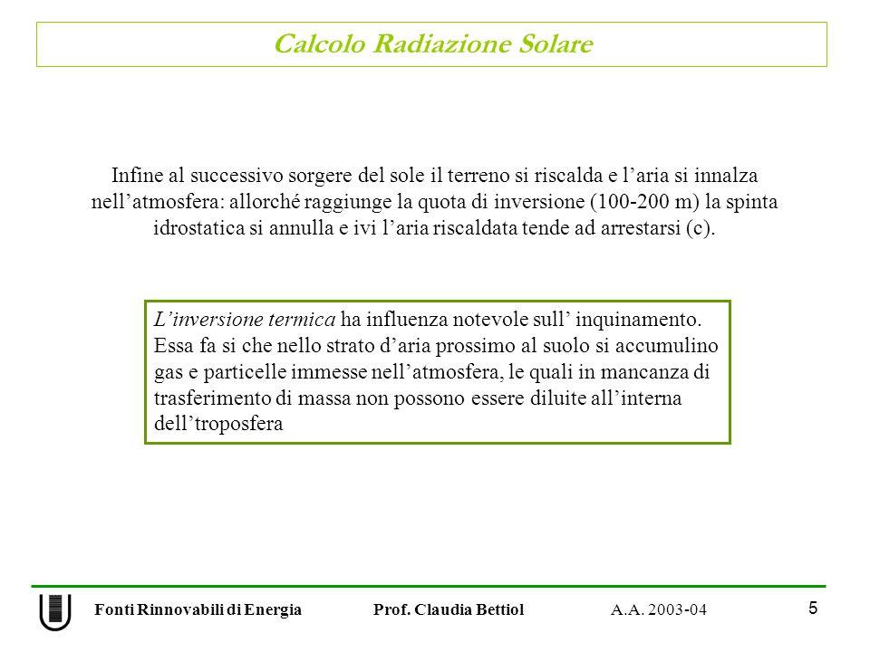 Calcolo Radiazione Solare 5 Fonti Rinnovabili di Energia Prof. Claudia Bettiol A.A. 2003-04 Infine al successivo sorgere del sole il terreno si riscal