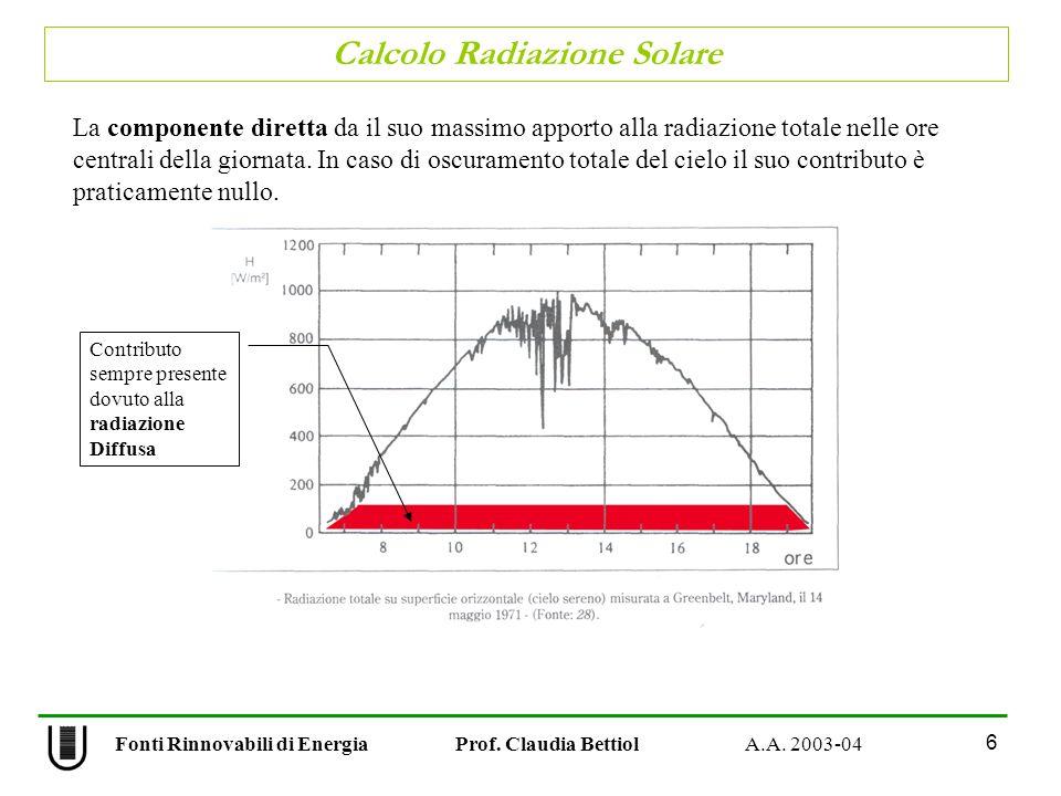 Calcolo Radiazione Solare 6 Fonti Rinnovabili di Energia Prof. Claudia Bettiol A.A. 2003-04 La componente diretta da il suo massimo apporto alla radia