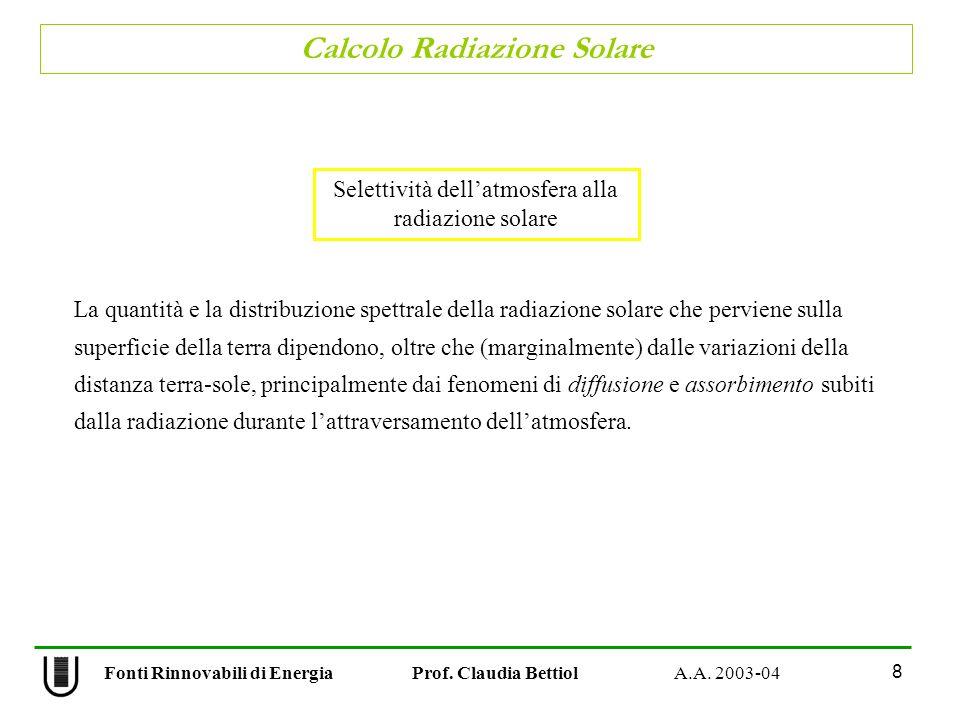 Calcolo Radiazione Solare 8 Fonti Rinnovabili di Energia Prof. Claudia Bettiol A.A. 2003-04 Selettività dellatmosfera alla radiazione solare La quanti