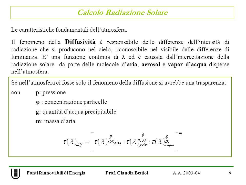 Calcolo Radiazione Solare 9 Fonti Rinnovabili di Energia Prof. Claudia Bettiol A.A. 2003-04 Le caratteristiche fondamentali dellatmosfera: Il fenomeno