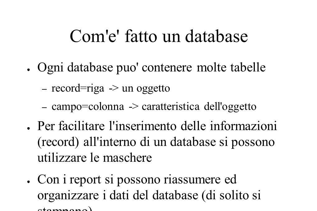 Com e fatto un database Ogni database puo contenere molte tabelle – record=riga -> un oggetto – campo=colonna -> caratteristica dell oggetto Per facilitare l inserimento delle informazioni (record) all interno di un database si possono utilizzare le maschere Con i report si possono riassumere ed organizzare i dati del database (di solito si stampano)