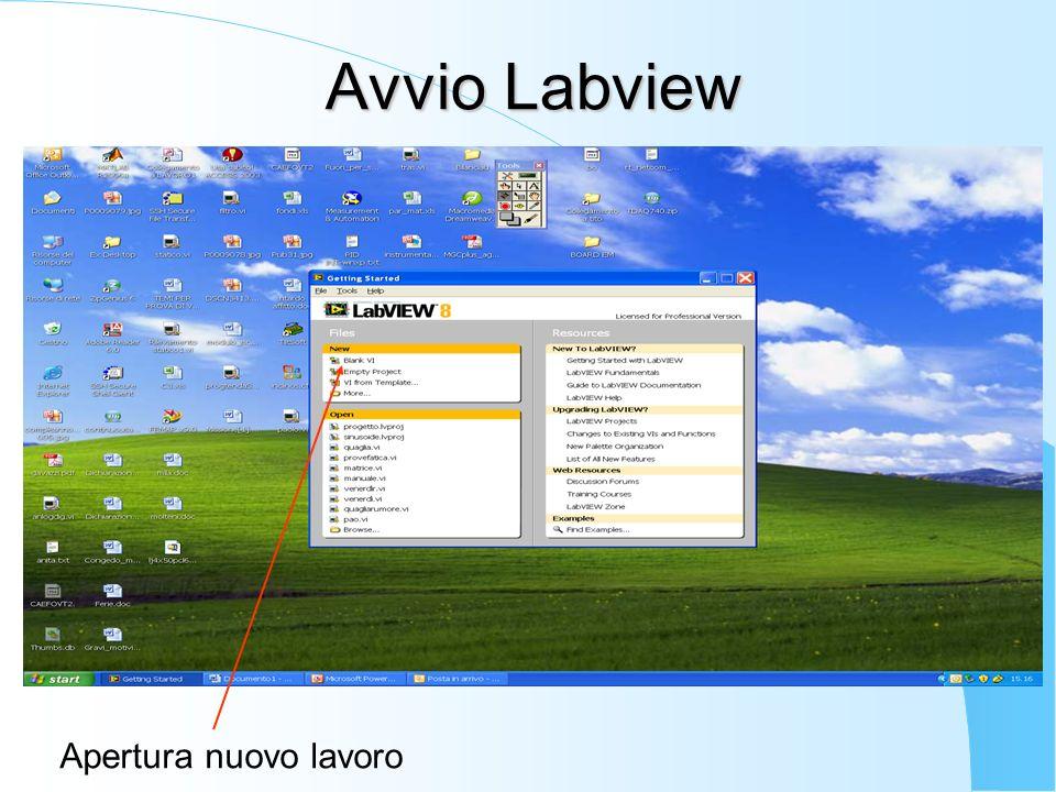 Avvio Labview Apertura nuovo lavoro