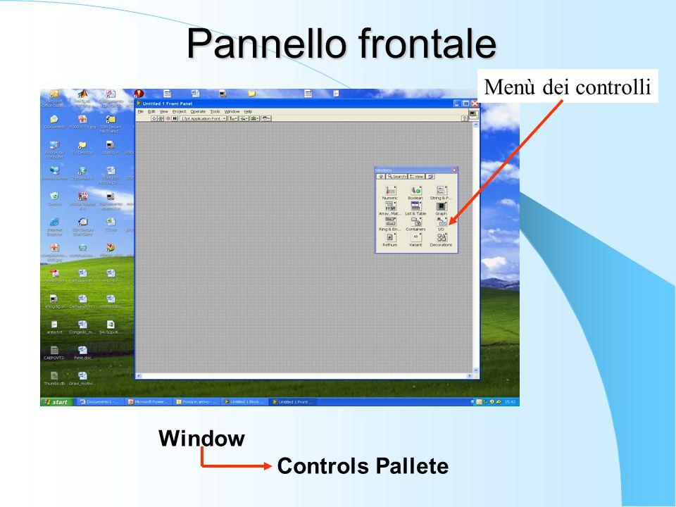 Pannello frontale Menù dei controlli Window Controls Pallete
