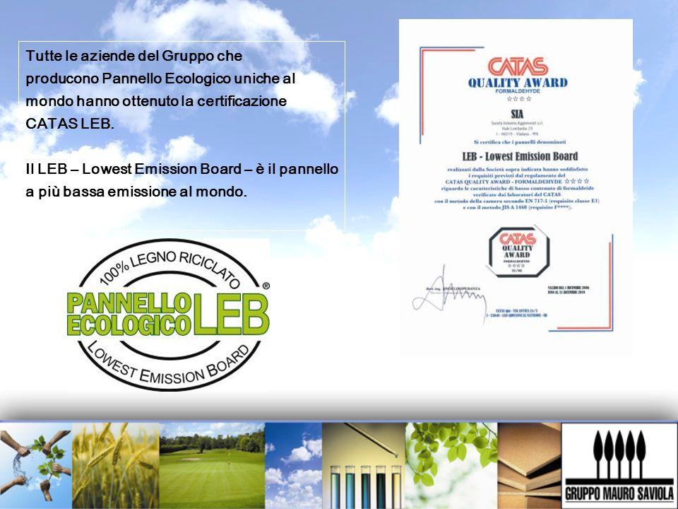 Tutte le aziende del Gruppo che producono Pannello Ecologico uniche al mondo hanno ottenuto la certificazione CATAS LEB. Il LEB – Lowest Emission Boar