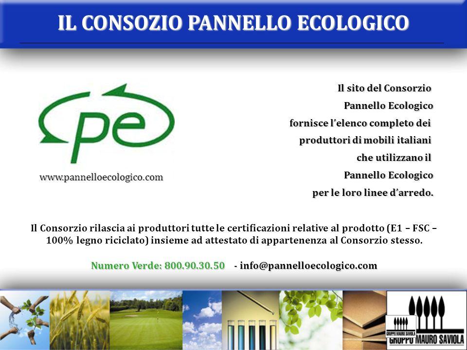IL CONSOZIO PANNELLO ECOLOGICO Il sito del Consorzio Pannello Ecologico fornisce lelenco completo dei produttori di mobili italiani che utilizzano il