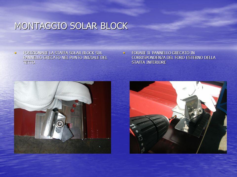 MONTAGGIO SOLAR BLOCK POSIZIONARE LA STAFFA SOLAR BLOCK SUL PANNELLO GRECATO NEL PUNTO INIZIALE DEL TETTO.