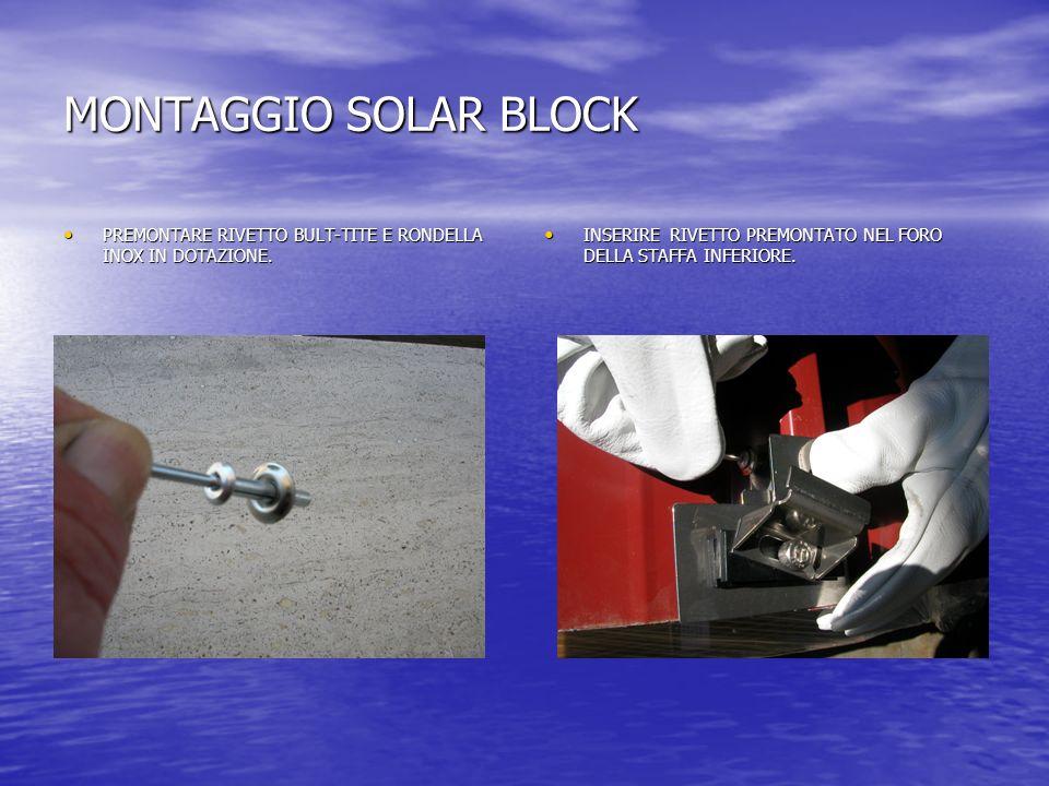 MONTAGGIO SOLAR BLOCK PREMONTARE RIVETTO BULT-TITE E RONDELLA INOX IN DOTAZIONE.