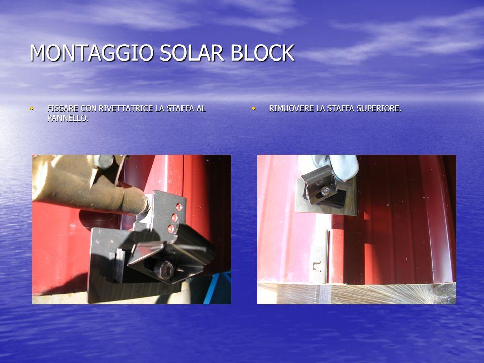 MONTAGGIO SOLAR BLOCK FISSARE CON RIVETTATRICE LA STAFFA AL PANNELLO.