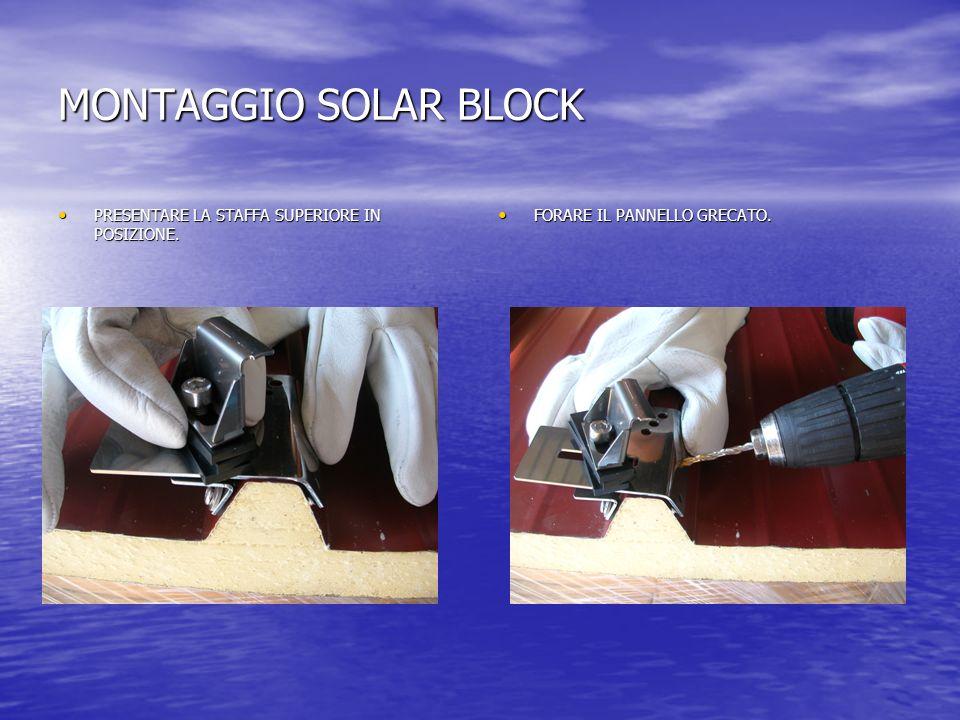 MONTAGGIO SOLAR BLOCK PRESENTARE LA STAFFA SUPERIORE IN POSIZIONE.