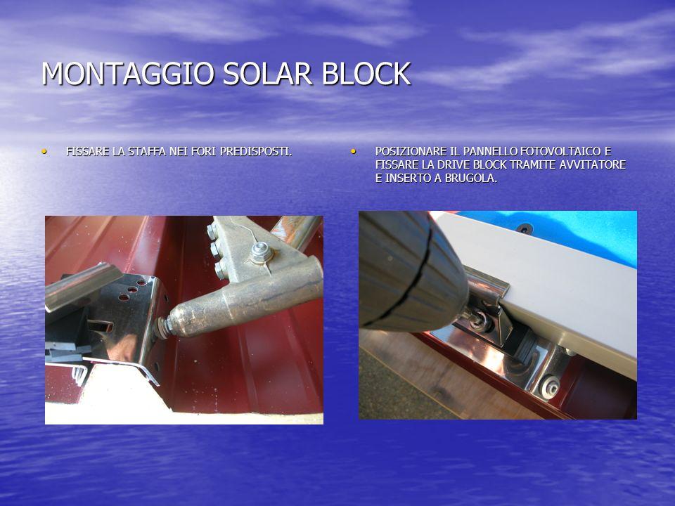 MONTAGGIO SOLAR BLOCK FISSARE LA STAFFA NEI FORI PREDISPOSTI.