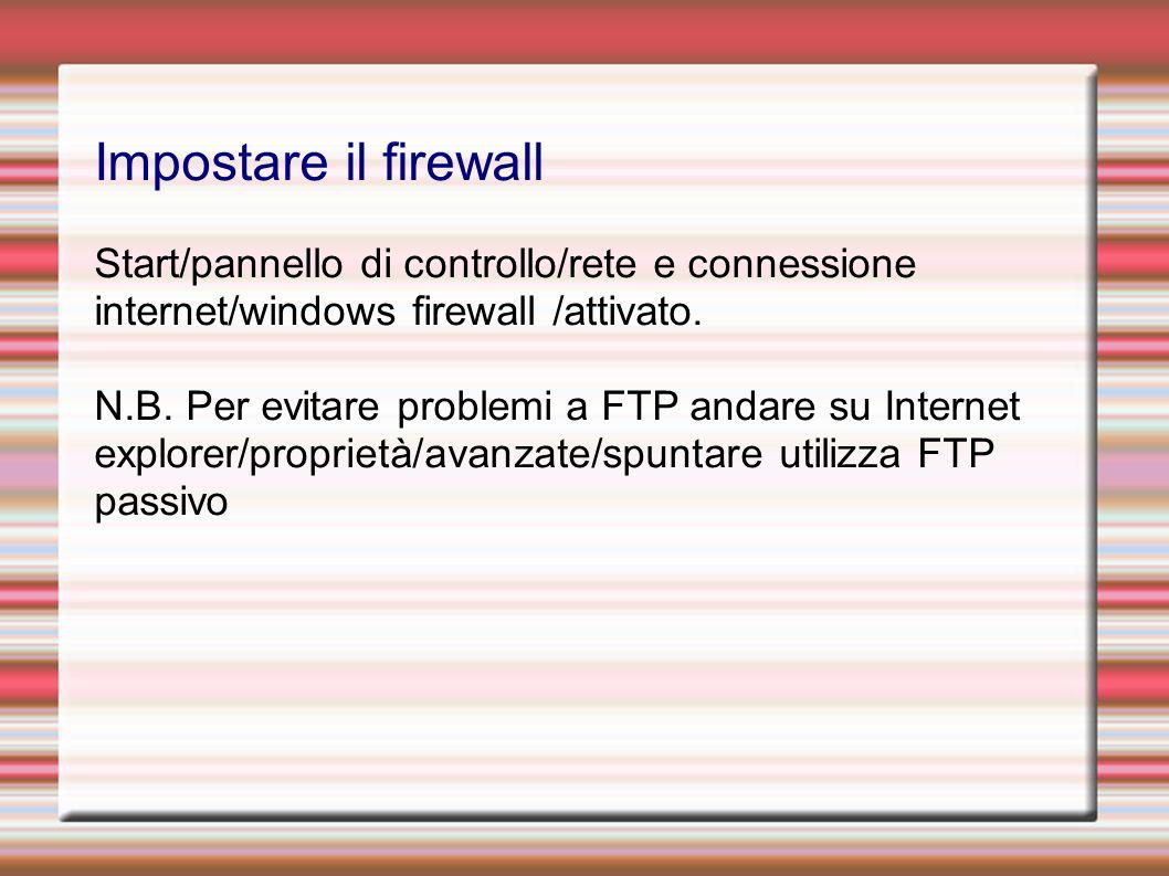Impostare il firewall Start/pannello di controllo/rete e connessione internet/windows firewall /attivato.