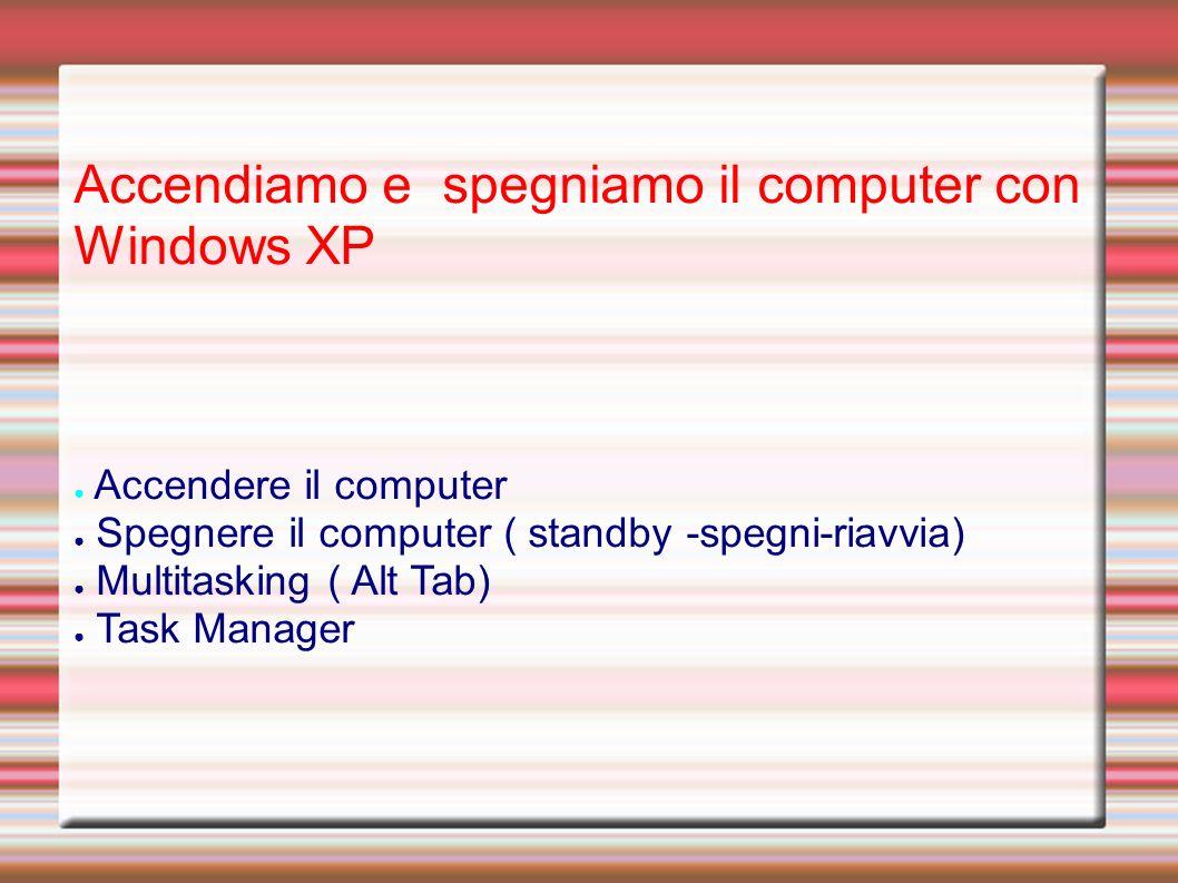 Accendiamo e spegniamo il computer con Windows XP Accendere il computer Spegnere il computer ( standby -spegni-riavvia) Multitasking ( Alt Tab) Task Manager