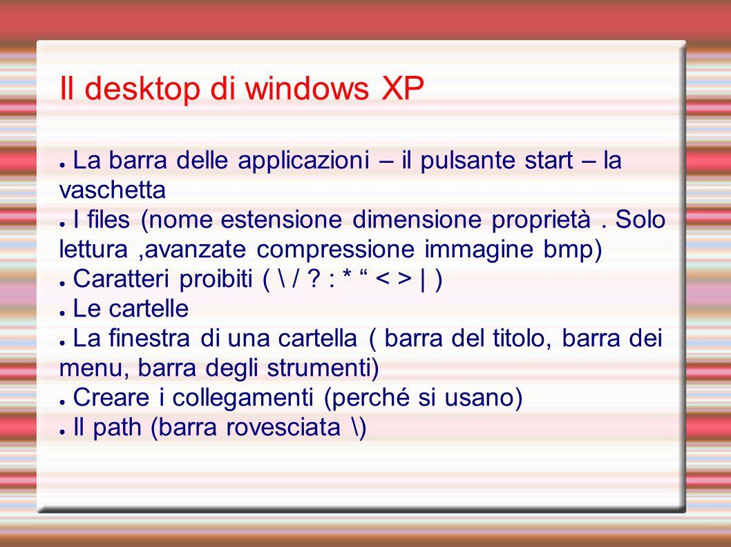 Il desktop di windows XP La barra delle applicazioni – il pulsante start – la vaschetta I files (nome estensione dimensione proprietà.