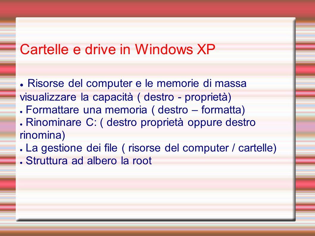 Cartelle e drive in Windows XP Risorse del computer e le memorie di massa visualizzare la capacità ( destro - proprietà) Formattare una memoria ( destro – formatta) Rinominare C: ( destro proprietà oppure destro rinomina) La gestione dei file ( risorse del computer / cartelle) Struttura ad albero la root