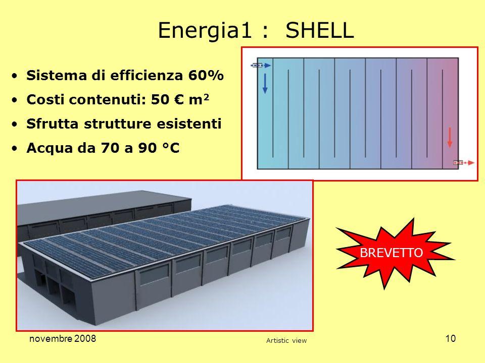 novembre 200810 Energia1 : SHELL Sistema di efficienza 60% Costi contenuti: 50 m 2 Sfrutta strutture esistenti Acqua da 70 a 90 °C BREVETTO Artistic v